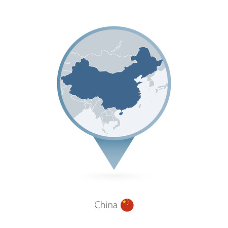 Map pin with detailed map of China and neighboring countries.