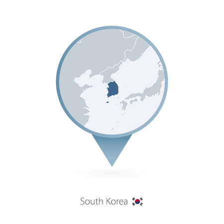 Map pin with detailed map of South Korea and neighboring countries. Vectores