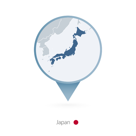 Map pin with detailed map of Japan and neighboring countries.