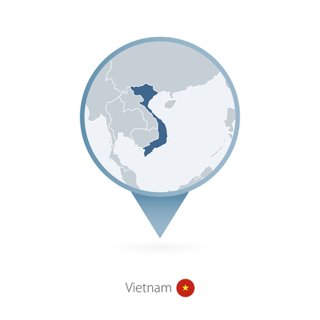 Map pin with detailed map of Vietnam and neighboring countries. Illustration