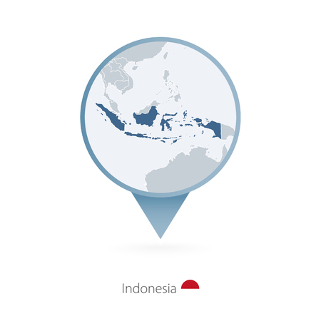 Map pin with detailed map of Indonesia and neighboring countries.