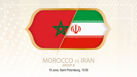 Morocco vs Iran, Group B. Football competition, Saint Petersburg. On beige soccer background.