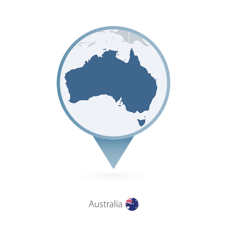 Map pin with detailed map of Australia and neighboring countries.