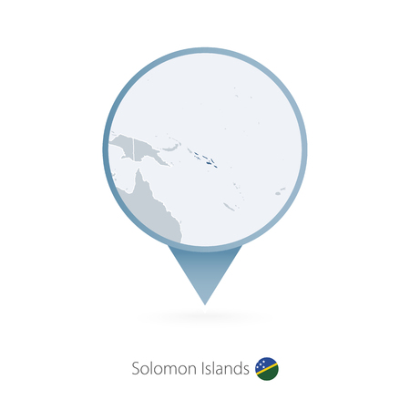 Map pin with detailed map of Solomon Islands and neighboring countries. Illustration