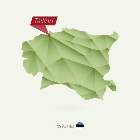 Green gradient low poly map of Estonia with capital Tallinn.