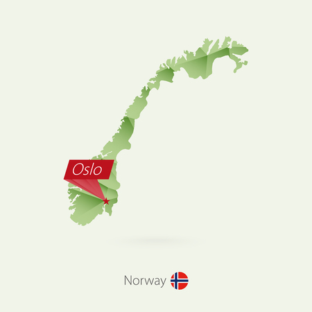 Green gradient low poly map of Norway with capital Oslo.