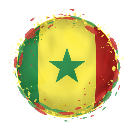 Round grunge flag of Senegal with splashes in flag color. Vector illustration.
