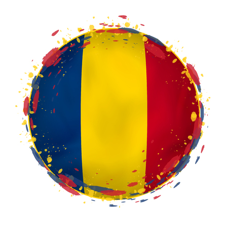 Round grunge flag of Chad with splashes in flag color. Vector illustration.