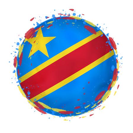Runde Schmutzflagge der Demokratischen Republik Kongo mit spritzt in der Flaggenfarbe. Vektor-illustration Standard-Bild - 97654476