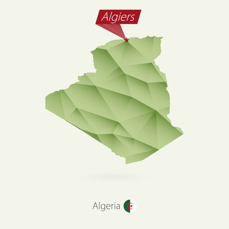 Green gradient low poly map of Algeria with capital Algiers