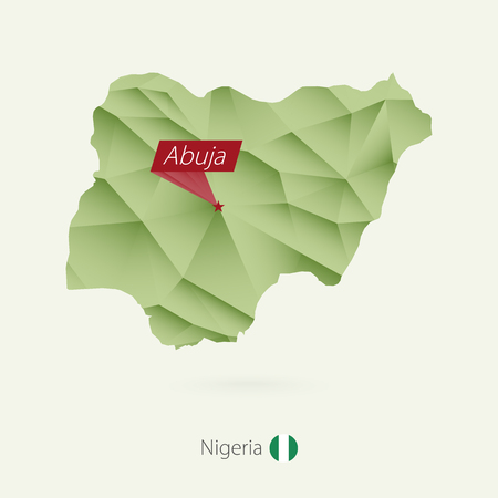 Green gradient low poly map of Nigeria with capital Abuja