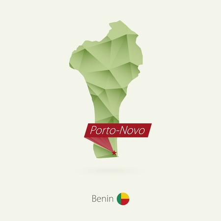 Green gradient low poly map of Benin with capital Porto-Novo Illustration