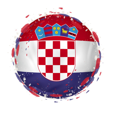 Round grunge flag of Croatia with splashes in flag color. Vector illustration. Çizim