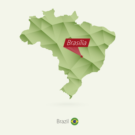 Green gradient low poly map of Brazil with capital Brasilia