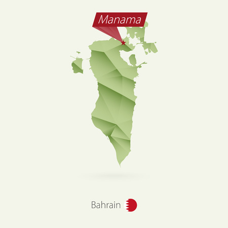 Green gradient low poly map of Bahrain with capital Manama Illustration