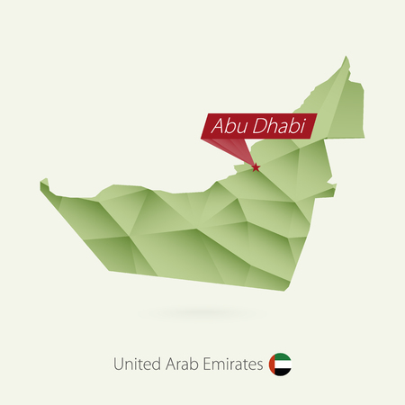 Green gradient low poly map of United Arab Emirates with capital Abu Dhabi