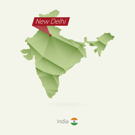 Green gradient low poly map of India with capital New Delhi