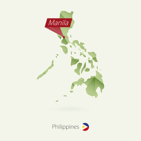 Green gradient low poly map of Philippines with capital Manila.
