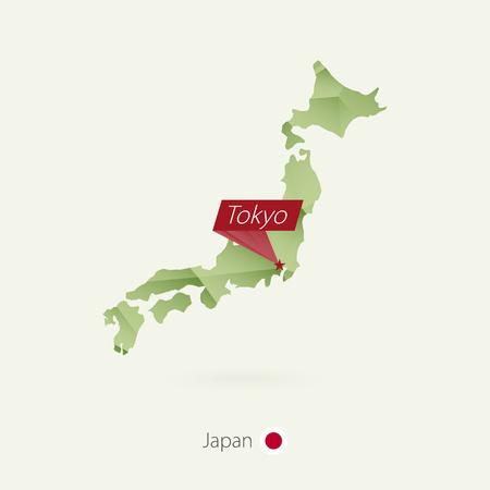 首都東京を持つ日本の緑の勾配低ポリマップ  イラスト・ベクター素材