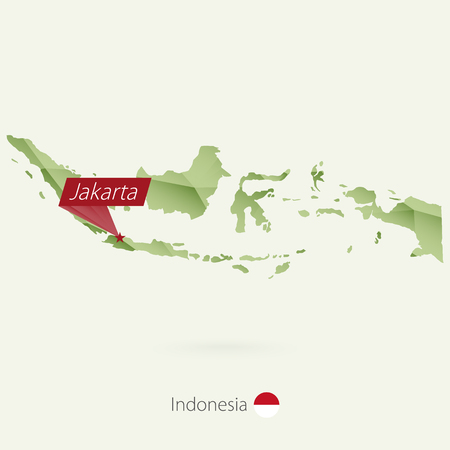 Green gradient low poly map of Indonesia with capital Jakarta Illustration
