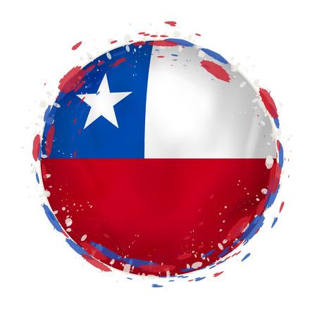 Ronde grungevlag van Chili met plonsen in vlagkleur. Vector illustratie Stock Illustratie