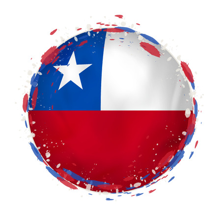 Round grunge flag of Chile with splashes in flag color. Vector illustration.