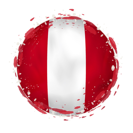 Round grunge flag of Peru with splashes in flag color. Vector illustration.