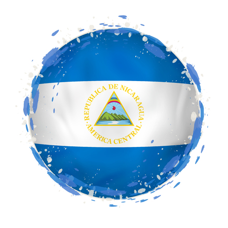 Round grunge flag of Nicaragua with splashes in flag color. Vector illustration. Illustration