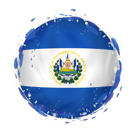 Round grunge flag of El Salvador with splashes in flag color. Vector illustration. Çizim