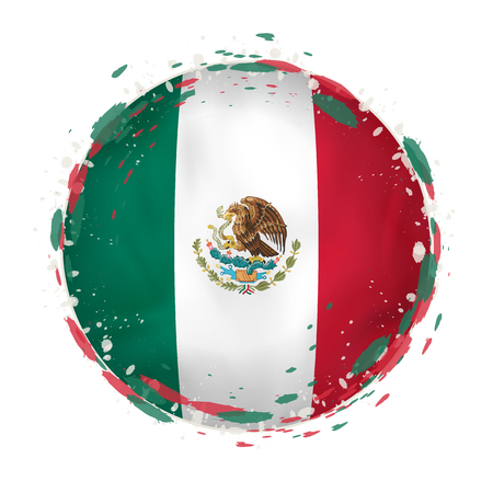 Round grunge flag of Mexico with splashes in flag color. Vector illustration. Vettoriali