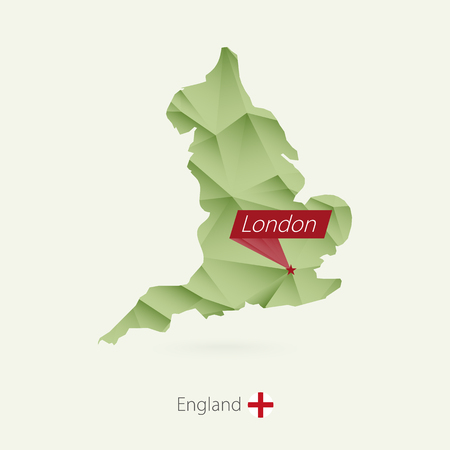 Green gradient low poly map of England with capital London Illustration