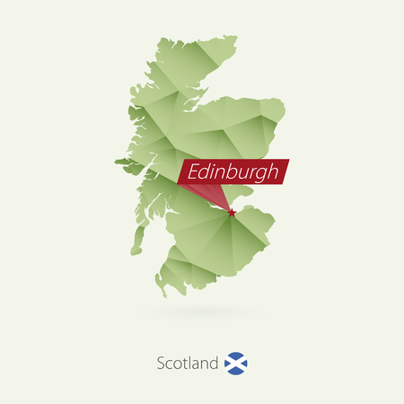 Green gradient low poly map of Scotland with capital Edinburgh
