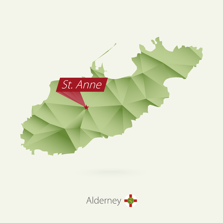 Green gradient low poly map of Alderney with capital St. Anne