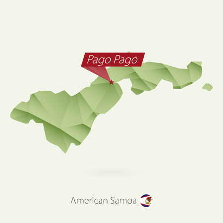 Green gradient low poly map of American Samoa with capital Pago Pago