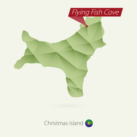 Green gradient low poly map of Christmas Island with capital Flying Fish Cove Ilustrace