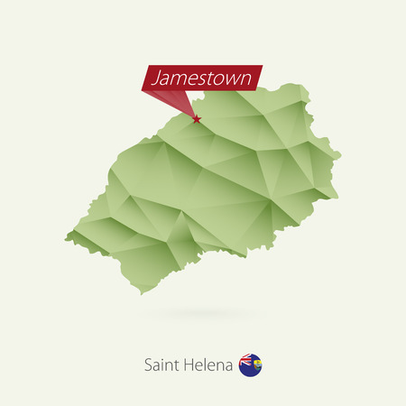 Green gradient low poly map of Saint Helena with capital Jamestown Illustration