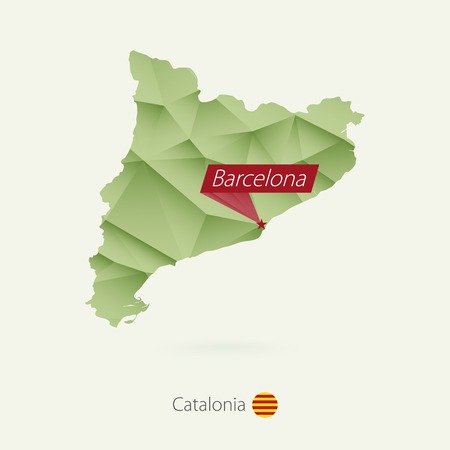 Green gradient low poly map of Catalonia with capital Barcelona