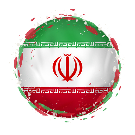Round grunge flag of Iran with splashes in flag color. Vector illustration.