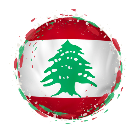 Round grunge flag of Lebanon with splashes in flag color. Vector illustration. Vectores