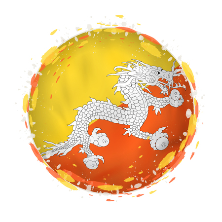 Round grunge flag of Bhutan with splashes in flag color. Vector illustration.