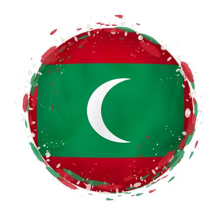 Round grunge flag of Maldives with splashes in flag color. Vector illustration.
