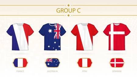 Football t-shirt with flags, teams of group C: France, Australia, Peru, Denmark. Vettoriali