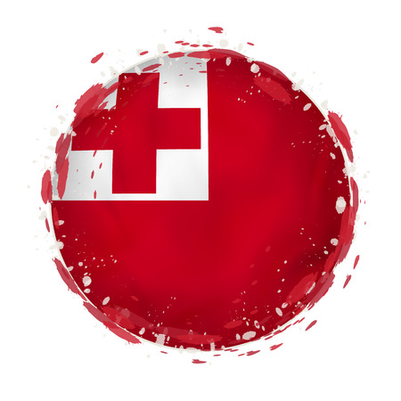 Round grunge flag of Tonga with splashes in flag color. Vector illustration. Illustration