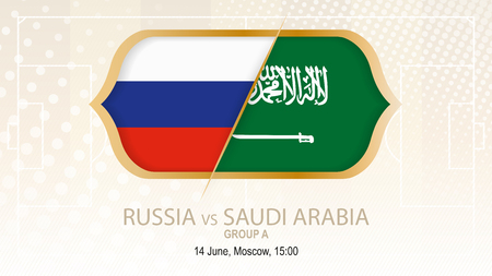 Russia versus Saudi Arabia, football competition, on beige soccer background.