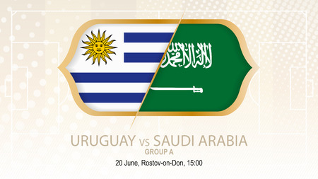 Uruguay versus Saudi Arabia, football competition, on beige soccer background.