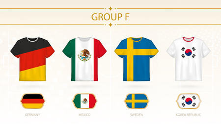 Football t-shirt with flags, teams of group F: Germany, Mexico, Sweden, Korea Republic.