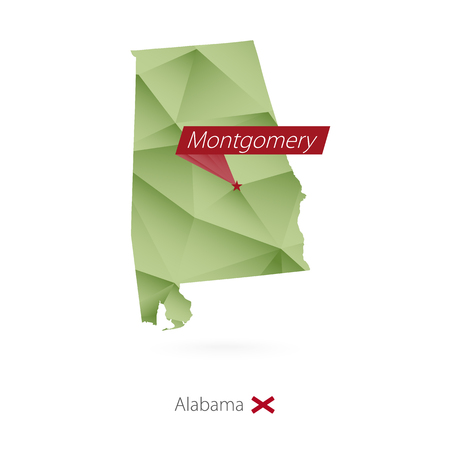 Green gradient low poly map of Alabama with capital Montgomery Illustration