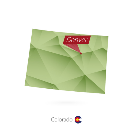 Green gradient low poly map of Colorado with capital Denver