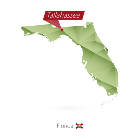 Green gradient low poly map  with capital Tallahassee