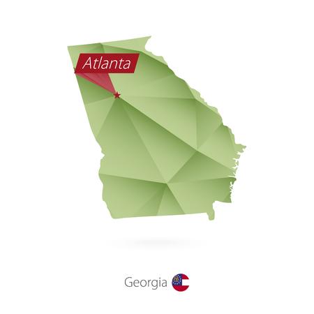 Green gradient low poly map of Georgia with capital Atlanta Ilustracja